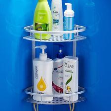 Metal 2 Tiers Shower Storage BathRoom Shelf Corner Organiser Caddy Basket Rack