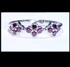 1/3Ct Purple Diamond VERY RARE Cluster Sterling Silver Ring Size N-O/7 RRP £357