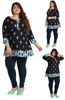 PLUS SIZE - Women Indian Cotton Blue Kurti Tunic Kurta Shirt Dress ECURVE09B
