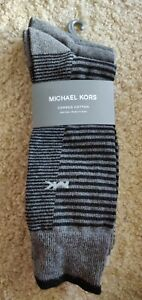 New MICHAEL KORS 3 Pair Soft Comfortable Black & Gray Men's Dress Socks Sz OS