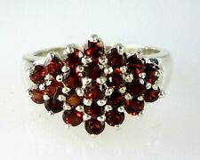 Natural Mozanbique Garnet Cluster Ring  925 Sterling Silver  1.84 Carats