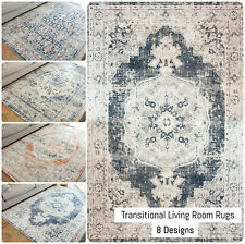 Distressed Traditional Rug Transitional Flatweave Area Rug Gray Living Room Rugs