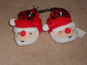 NEW, BABY CHRISTMAS SANTA SLIPPERS, SIZE 2