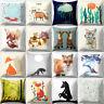 BG_ Square Cartoon Fox Print Pillow Case Bed Waist Cushion Cover Home Decor Nove