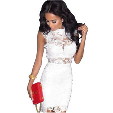 Women Hollow Out Lace Party Dress Sleeveless Bodycon Evening Short Mini Dresses