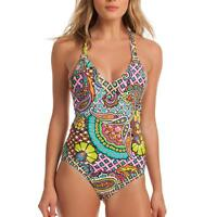 Trina Turk Madagascar Deep V-neck Plunge Paisley Cross Back Swimsuit One Piece 4
