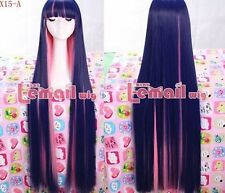 "USA Ship! Long Indigo and pink ""Panty&Stocking with Garterbet"" Cosplay Wig RW120"