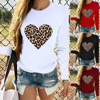 Women Leopard Heart Print Casual Top Shirt Lady Long Sleeve Hoodie Sweatshirt UK