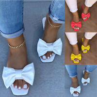 LADIES WOMENS FLAT SLIP ON SLIDERS BOW FLATFORM SUMMER MULE SANDALS SHOES SIZE