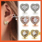 18K WHITE YELLOW ROSE GOLD GF CRYSTAL SOLID LADIES GIRLS HEART STUD EARRINGS NEW