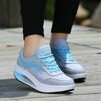 women's sneakers wedge hidden heel boat lace-up breathable sports shoes US Size