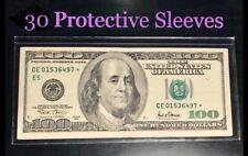 30 SEMI-RIGID Vinyl Money Protector Sleeves US Dollar Bill CURRENCY HOLDERS BCW