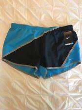 New Womens Nike Running Shorts Dri-Fit M Medium Navy Turquoise Zip Pocket $45