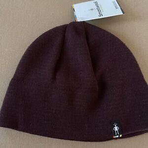 SmartWool The Lid Men's Beanie Merino Wool Blend Hat W/ Linear Burgundy