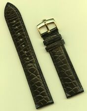 GENUINE ROLEX GOLD BUCKLE & GENUINE ALLIGATOR STRAP BLACK 19mm LEATHER LINED