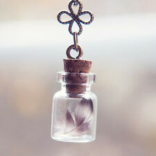 Handmade Women Real Feather Glass Wish Bottle Fairy Chain Necklace Pendant