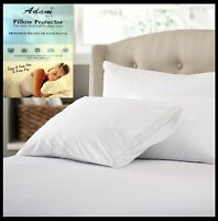 100% Cotton Pair Of  Pillow Protector Fresh Nights Anti Allergy Zipped White