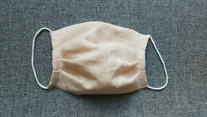Mundschutz Leinen Stoff Stoffmaske Mund Nasenschutz Gesichtsmaske apricot NEU