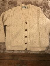 ARAN Crafts Pure Wool Traditional Aran Hand Knit Cardigan 18 20 XL