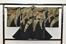 VINTAGE SILK HAORI JACKET:Gorgeous Lacquered Chrysanthemum/Wisteria@Y200