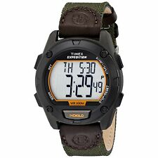 BRAND NEW TIMEX T49947 EXPEDITION DIGITAL GREEN NYLON LEATHER STRAP MEN'S WATCH