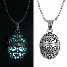Magic Glow in the Dark Stainless Steel Chain Locket Egg Necklaces Pendant Gifts