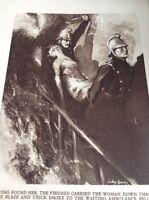 Ephemera 1936 Book Plate 8x5.5 Inch Fireman Fire Brigade Woman Rescued da3