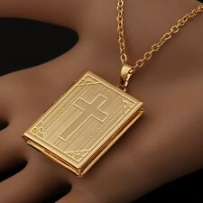 18K  Gold Filled  Holy Bible Locket Pendant Necklace Religious - Holds 2 Photos