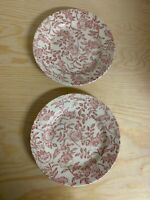 "2 Churchill Pink Peony Toile Chintz 7 7/8 "" Coupe Soup Bowl (s) Flowers England"