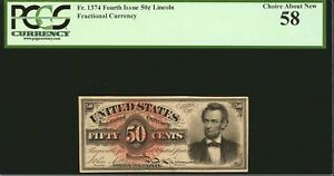"""1869-75 50 CENT FRACTIONAL CURRENCY FR1374 """"LINCOLN"""" PCGS CHOICE ABOUT NEW-58"""