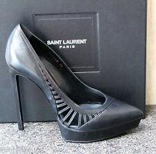 NIB YSL Saint Laurent Paris JANIS 105 SIDE RAY Black Platform Pumps Shoe 39