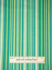 Green Aqua Soft White Stripe Cotton Fabric Michael Miller #CX3137-CARI-D YARD