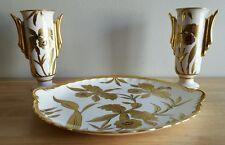 "Stouffer Studio Vintage Artist Signed ""Orchid"" Large Plate & 2 Vases"
