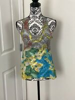 ANTHROPOLOGIE LANGUAGE SILK BLOUSE TOP FLORAL SHEER SLEEVELESS MULTI COLOR XS