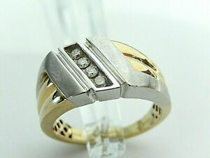 *LARGE* 14K TWO TONE GOLD .25CT MEN'S DIAMOND RING  SIZE 12