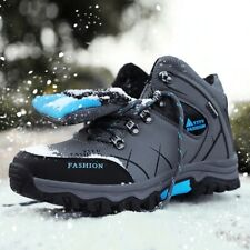 Men's Fur Winter Snow Boots Waterproof Leather Sneaker Outdoor Hiking Warm Boots