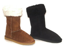 Womens Ladies Faux Suede Fur Lined Style Winter boots Size UK Black Fashions 888