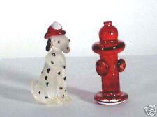 Dalmation firefighter helmet/  hydrant Handblown glass