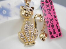 Betsey Johnson fashion jewelry Cute white cat Crystal pendant necklace #A419