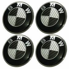 BMW Set of 4 Emblems 65mm Hub Alloy Wheel Centre Caps Badges Curved Black Carbon