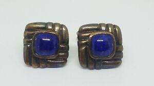 John Hardy Bedeg Sterling Silver & Bronze Square Blue Lapis Cabochon Cufflinks