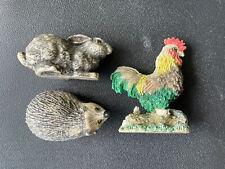 Job Lot of Animal ornaments (hedgehog, rabbit, cockerel)