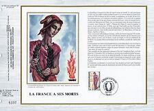 FEUILLET CEF / DOCUMENT PHILATELIQUE / LA FRANCE A SES MORTS 1985 PARIS
