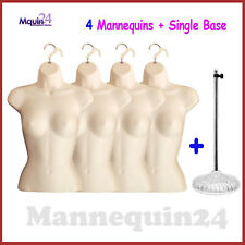 4 Female Mannequin Torsos + 1 Stand + 4 Hangers - Flesh Women Dress Body Forms