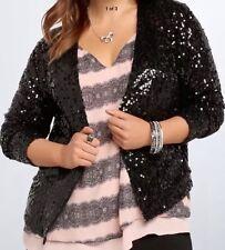 NWT Torrid Black Sequin Drape Shrug Coat Jacket Cardigan Sz 2 $59 New 20/22 Prom