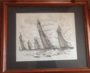 """MARITIME FRAMED GLASS BY BEKEN of COWES: THE """"J"""" CLASS COWES 1926"""