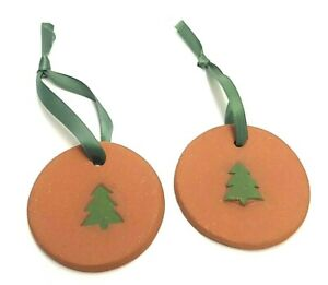 "SET OF 2 HANDMADE BROWN CLAY CHRISTMAS TREE ORNAMENTS W/TREE DECORATION 2.75"""