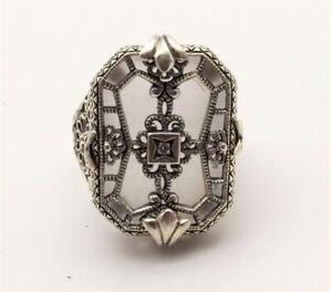 Vtg Sterling Silver Camphor Glass Filigree Ring Sz 5.5 Diamond Art Deco Ornate
