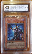 YU-GI-OH 2004 COLLECTOR TIN TOTAL DEFENSE SHOGON 1ST WAVE MISPRINT CGA graded 98