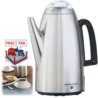 Electric Percolator 12 Cup Stainless Steel Coffee Maker Pot Vintage Portable
